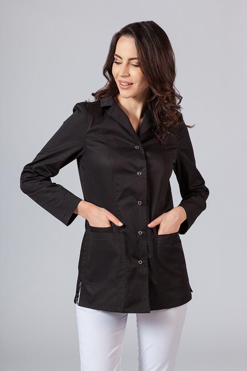 Fartuch medyczny Sunrise Uniforms krótki z długim rękawem czarny