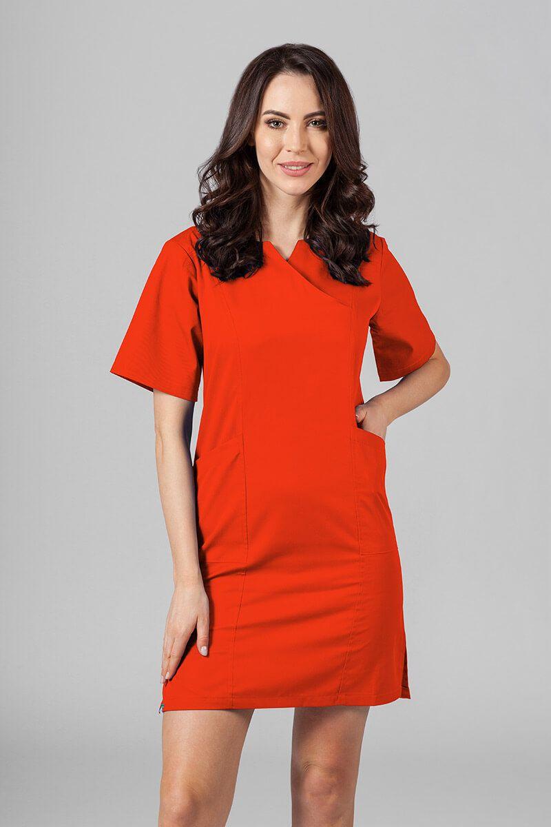 Sukienka medyczna damska klasyczna Sunrise Uniforms pomarańczowa