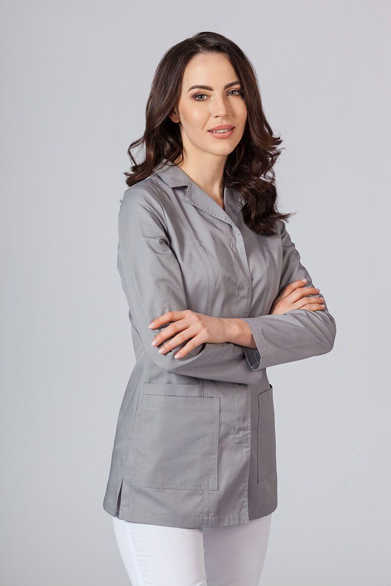 Fartuch medyczny Sunrise Uniforms krótki z długim rękawem (kryte napy) szary