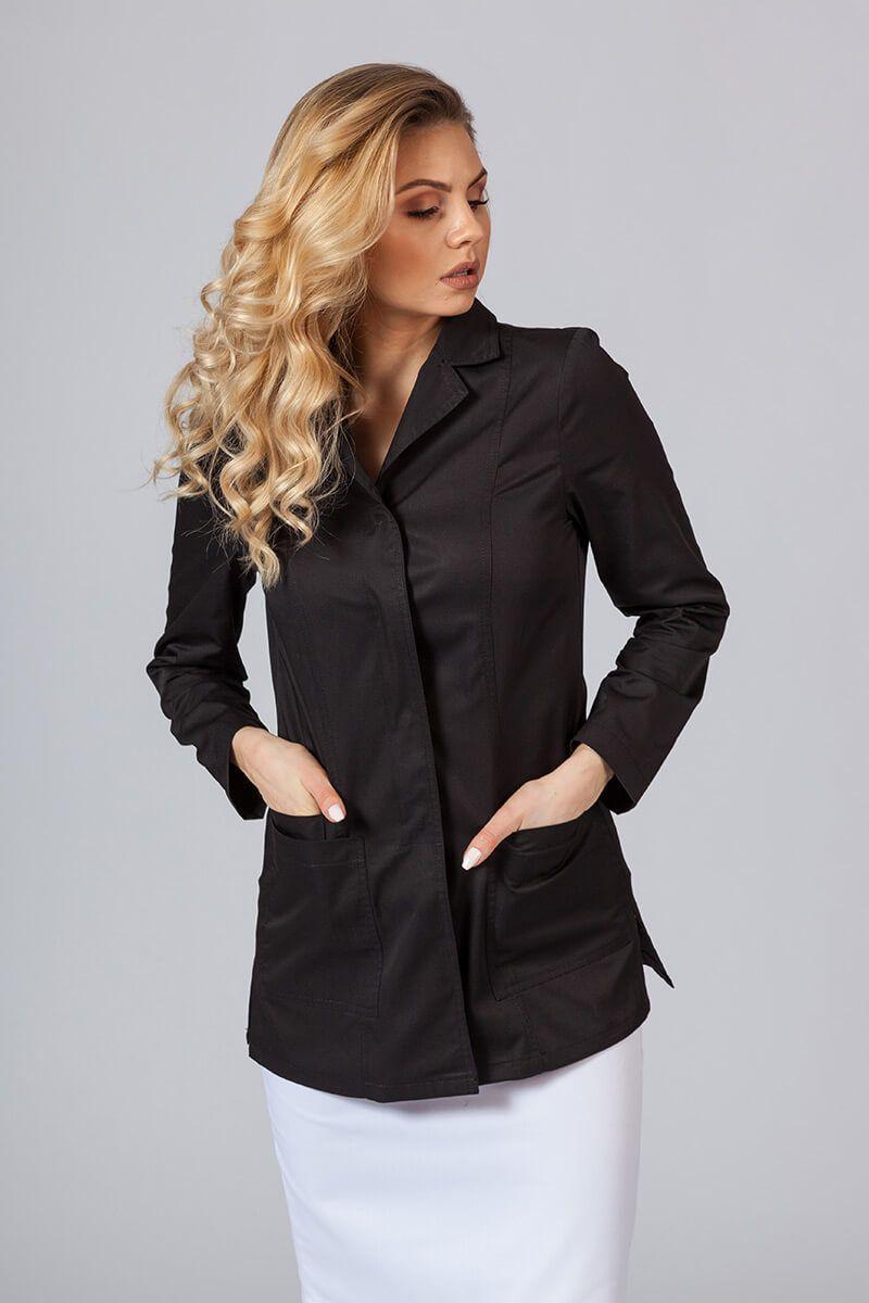 Fartuch medyczny Sunrise Uniforms krótki z długim rękawem (kryte napy) czarny