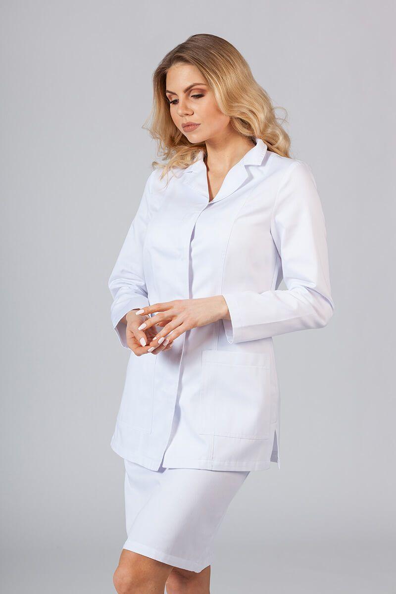 Fartuch medyczny Sunrise Uniforms krótki z długim rękawem (kryte napy) biały