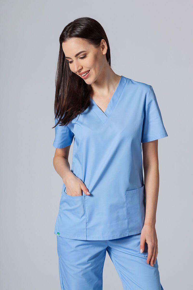 Bluza medyczna damska Sunrise Uniforms niebieska taliowana