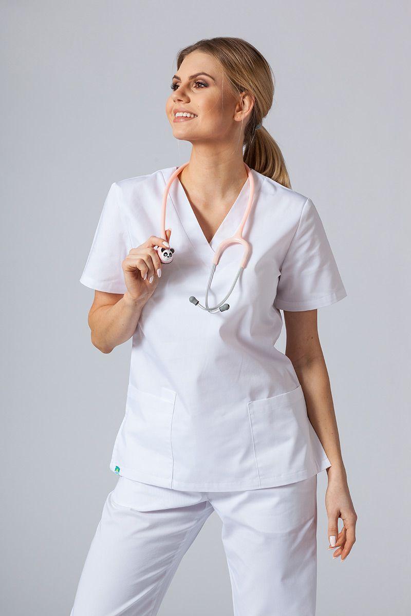 Bluza medyczna damska Sunrise Uniforms biała taliowana