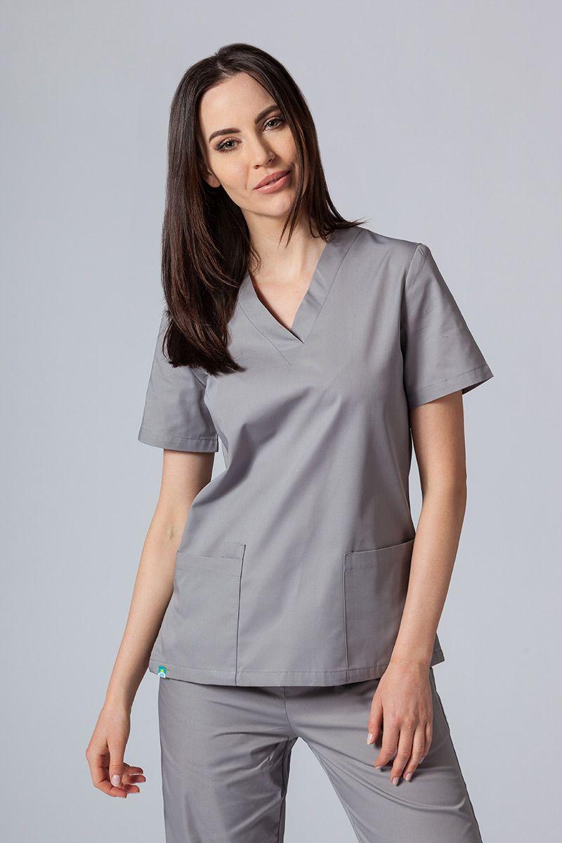 Bluza medyczna damska Sunrise Uniforms szara taliowana