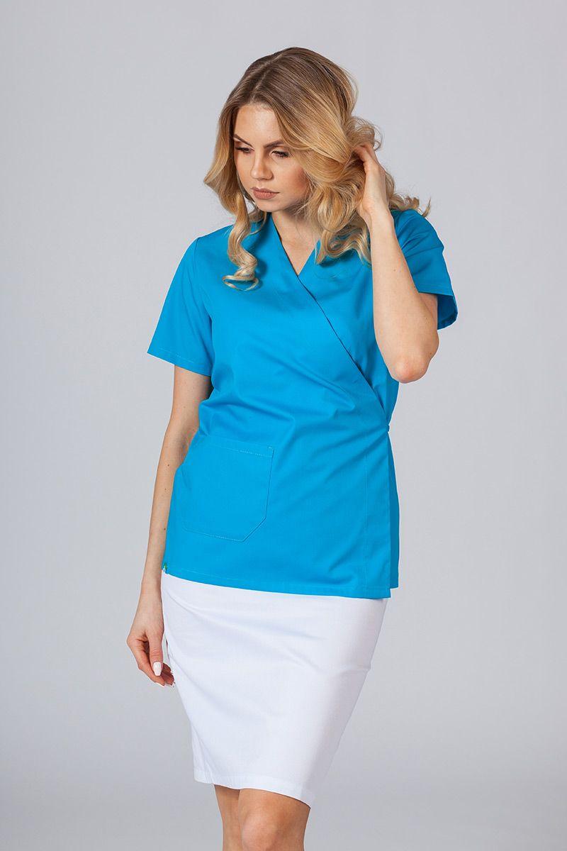 Fartuszek/bluza damska wiązana Sunrise Uniforms turkusowa