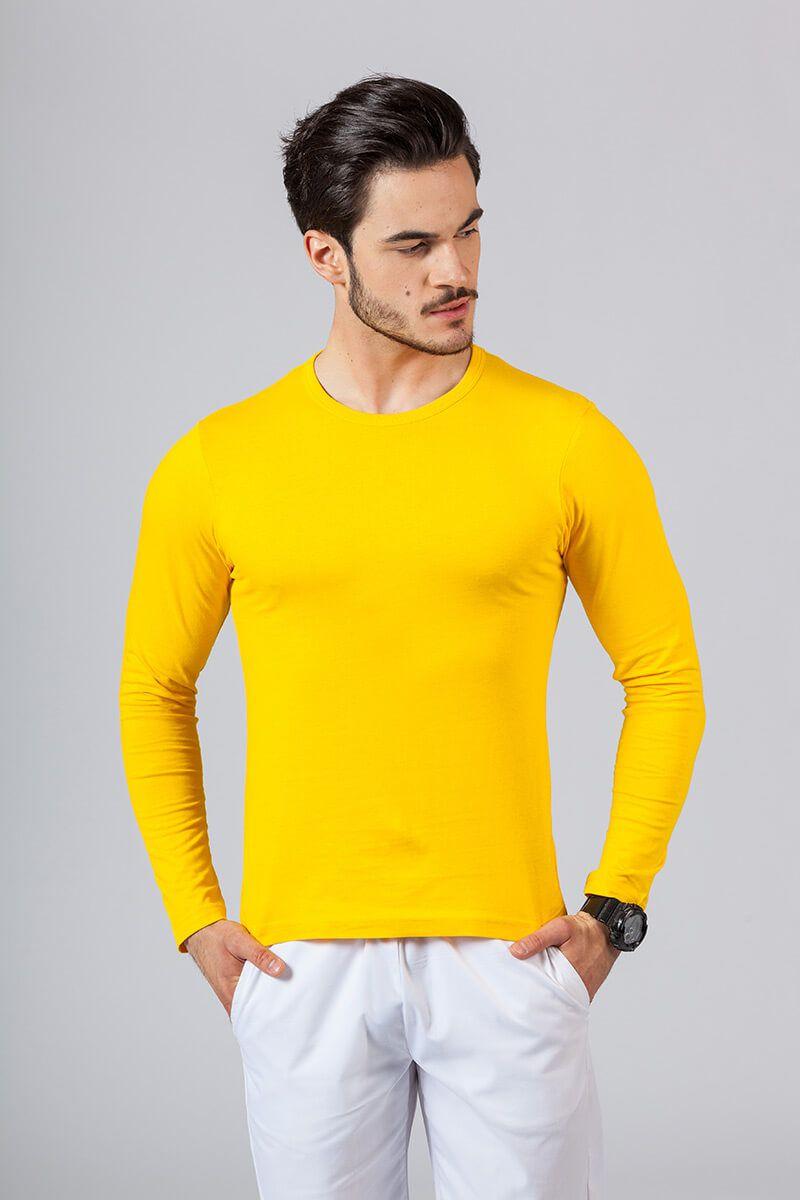Koszulka męska z długim rękawem żółta