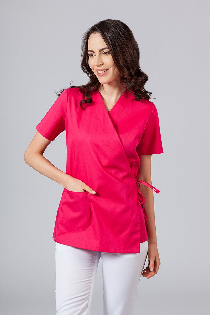 Fartuszek/bluza damska wiązana Sunrise Uniforms malinowa