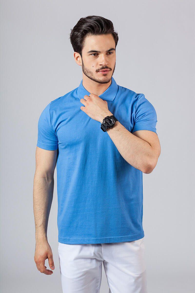 Koszulka męska Polo lazurowa