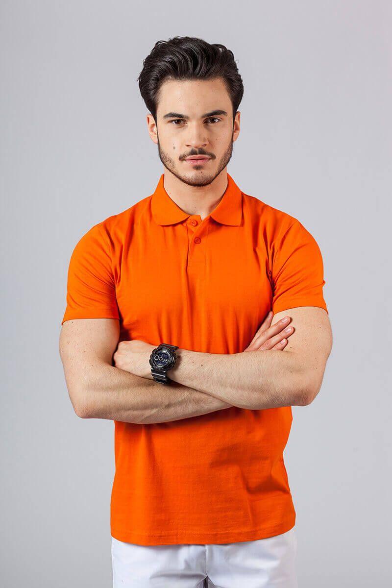 Koszulka męska Polo pomarańczowa