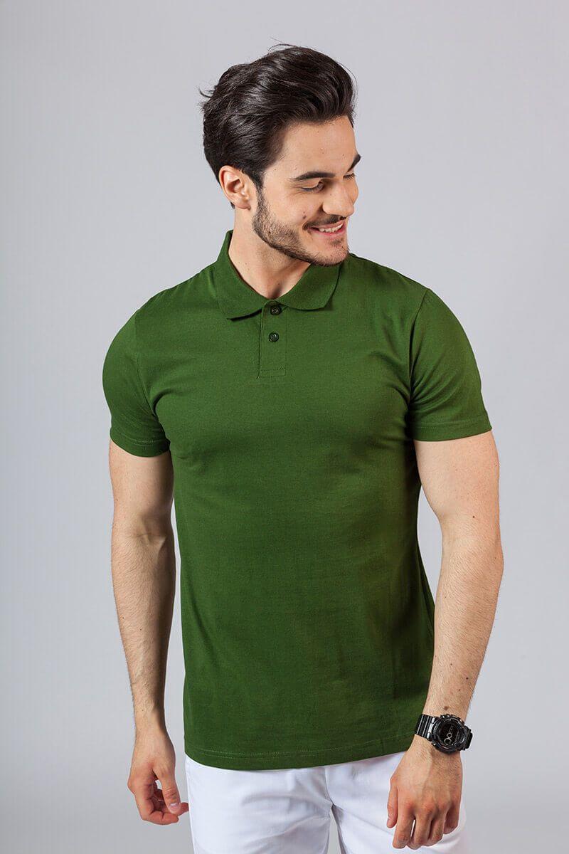 Koszulka męska Polo butelkowa zieleń