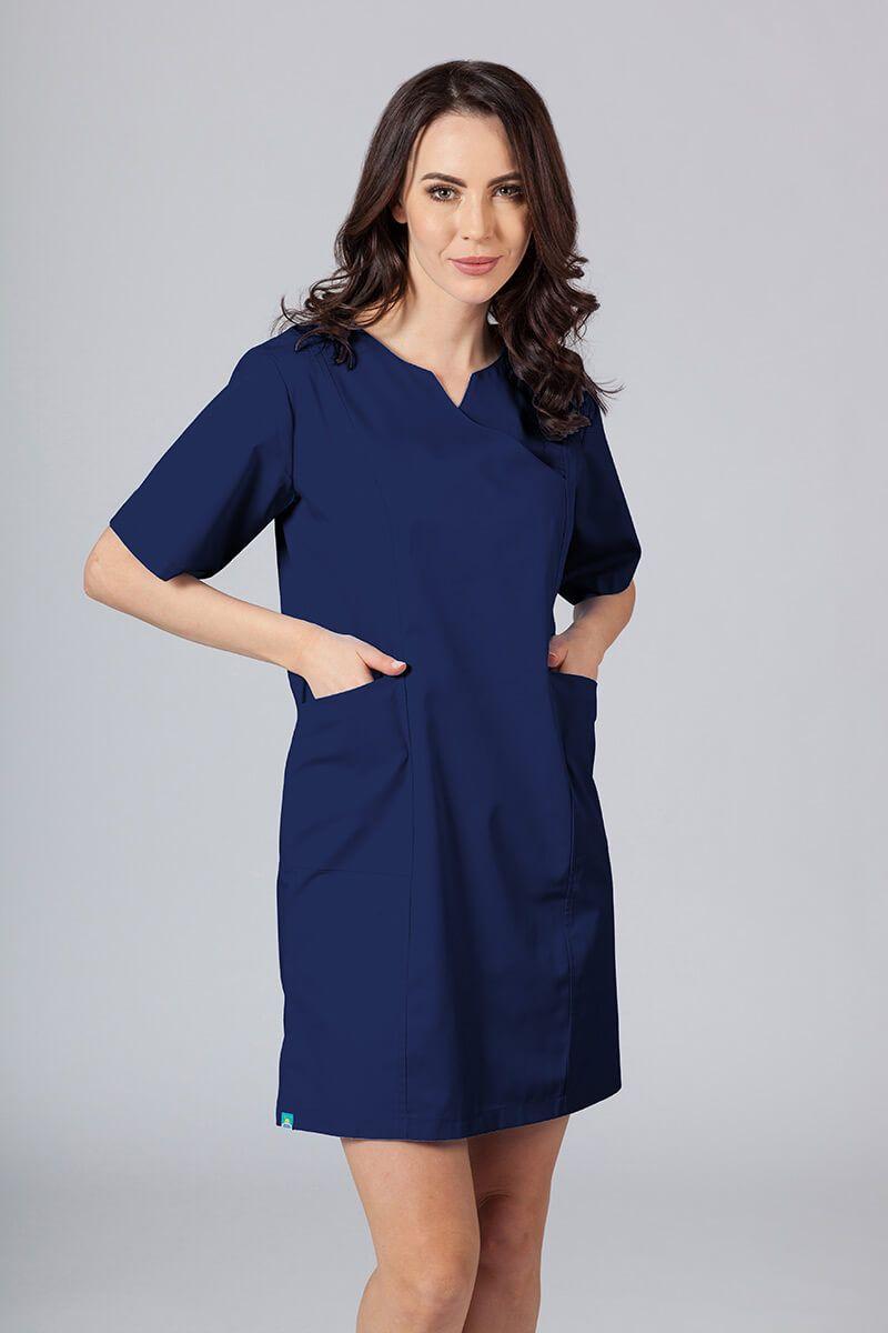 Sukienka medyczna damska klasyczna Sunrise Uniforms ciemny granat