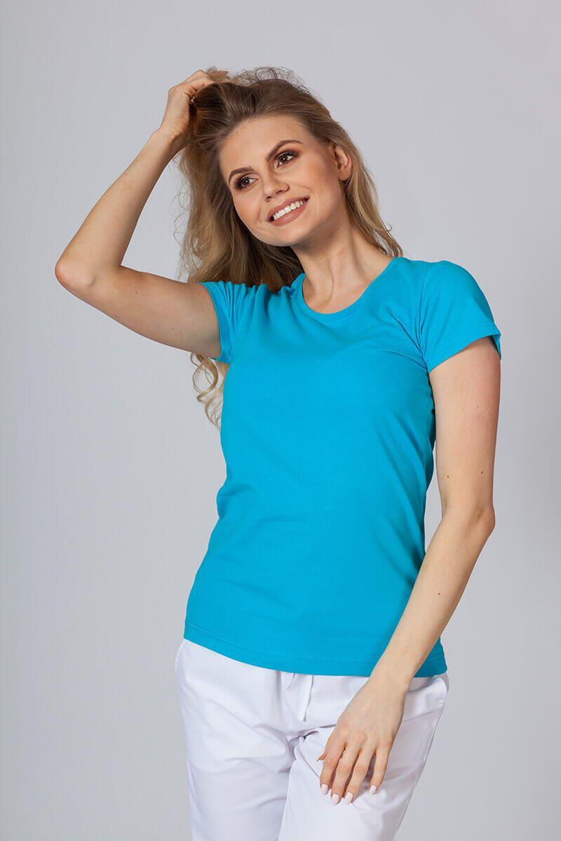 Koszulka damska z krótkim rękawem turkusowa