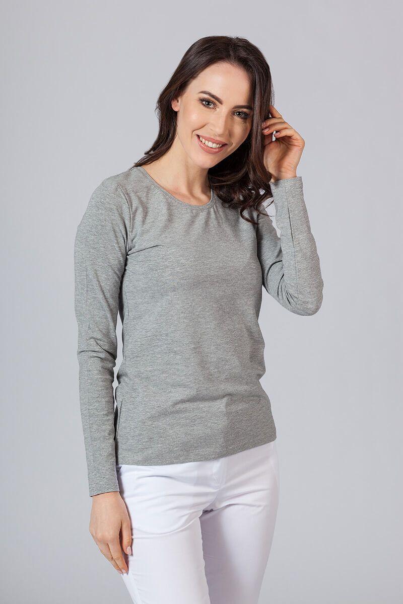 Koszulka damska z długim rękawem ciemnoszary melanż