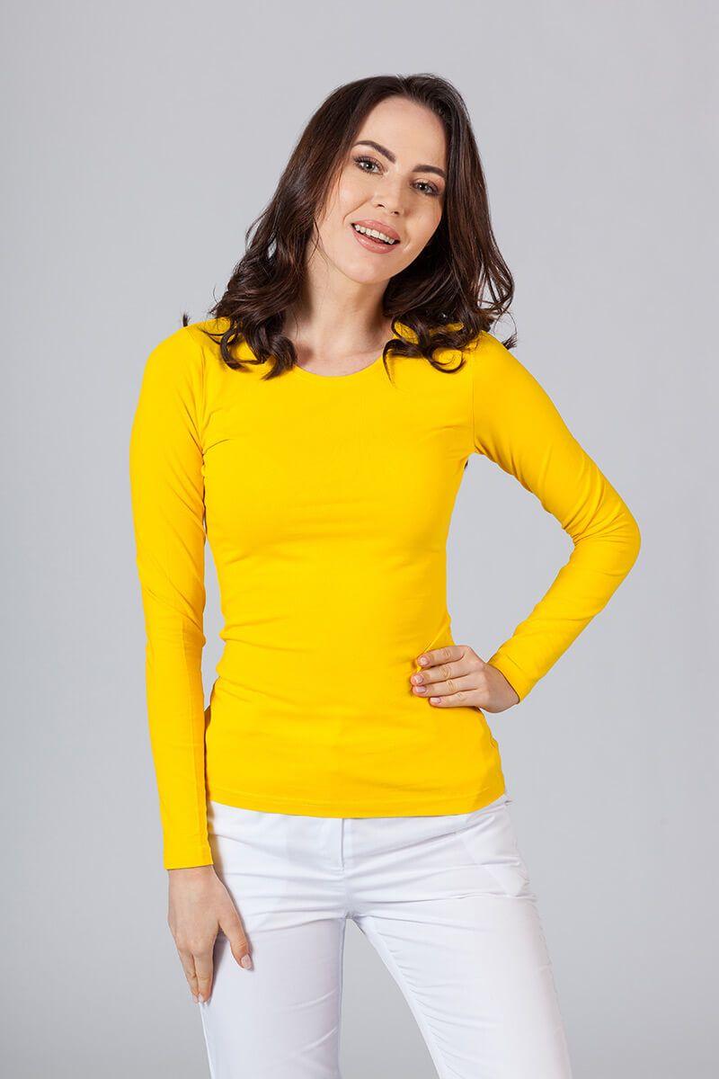 Koszulka damska z długim rękawem żółta