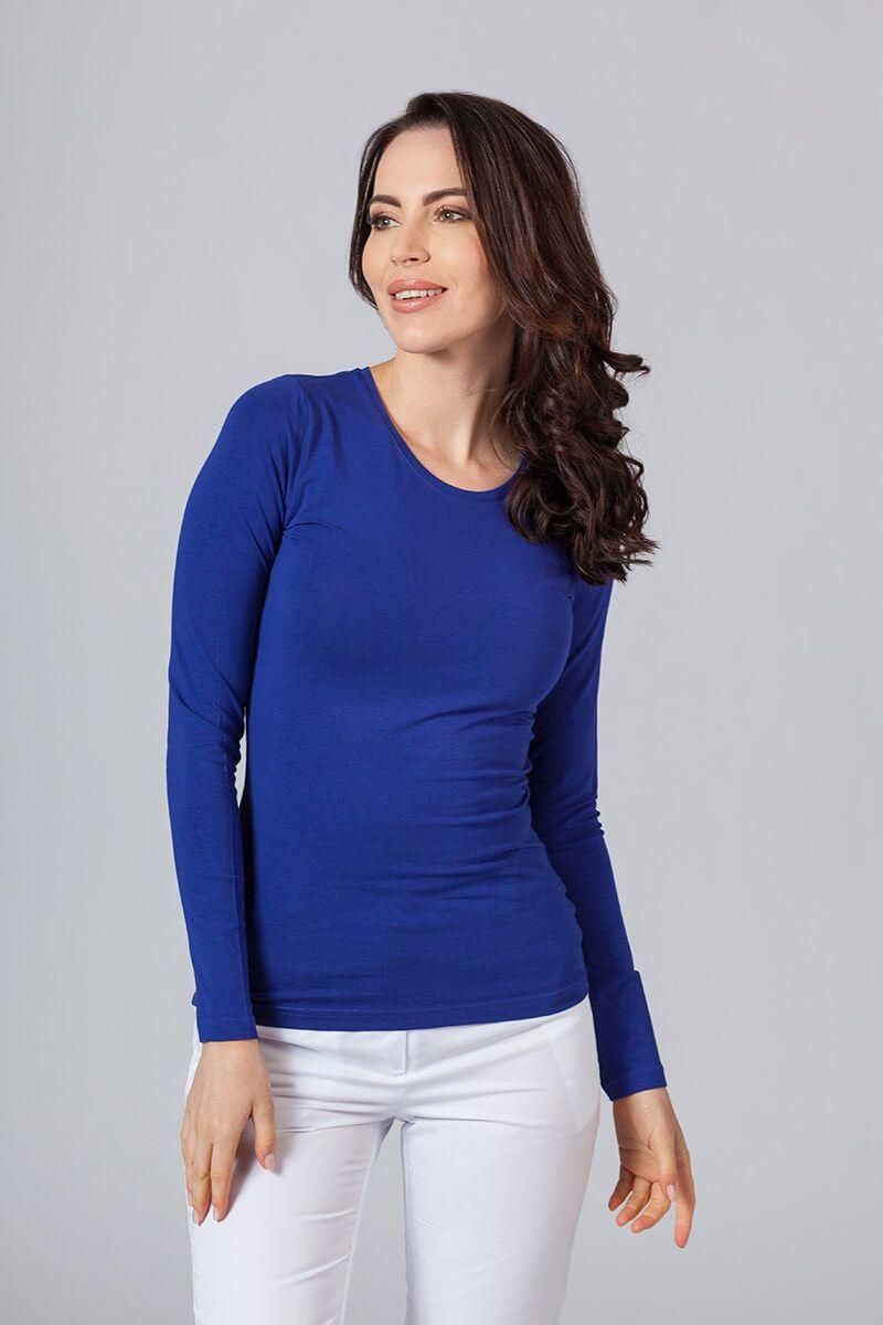 Koszulka damska z długim rękawem chabrowa