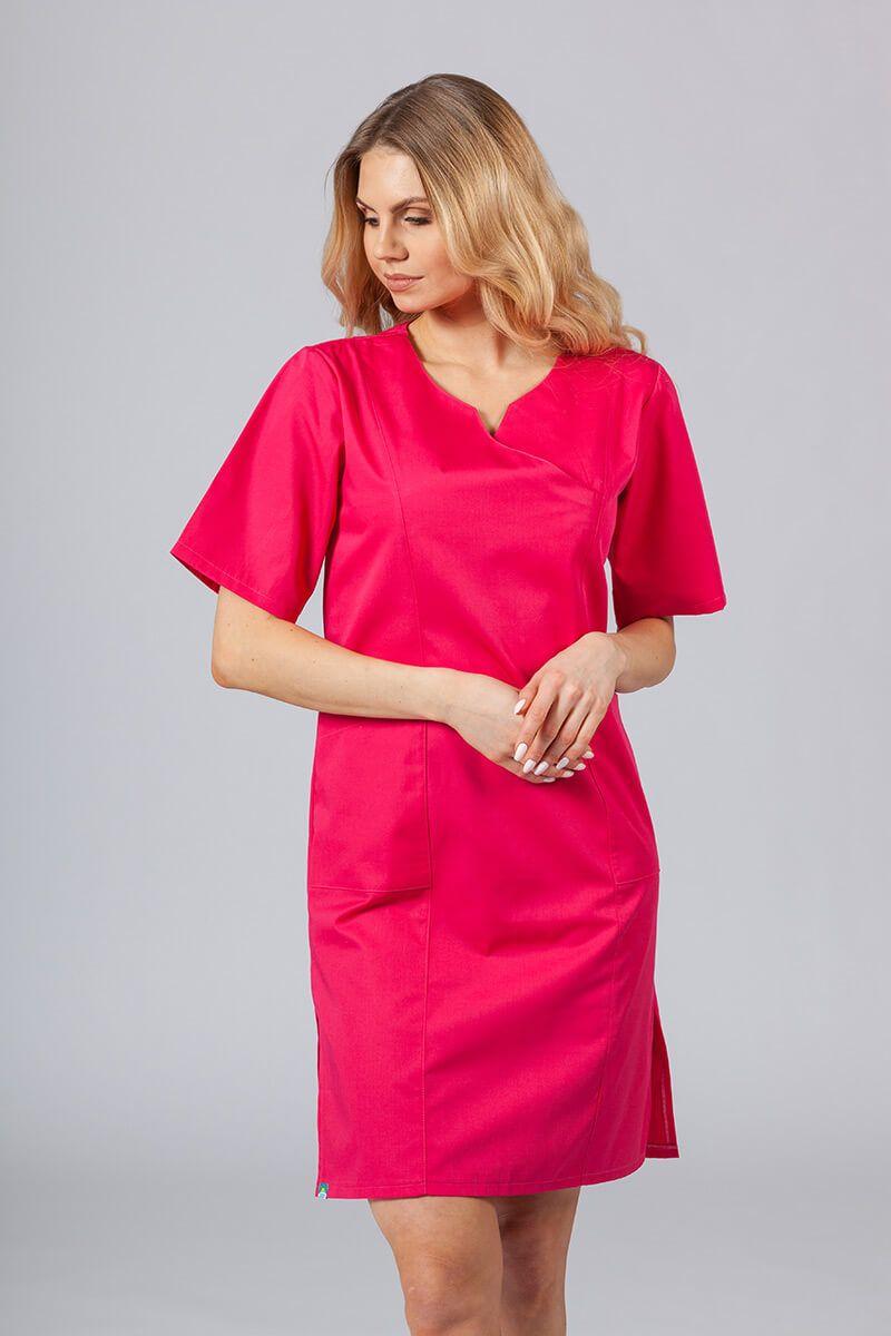 Sukienka medyczna damska klasyczna Sunrise Uniforms malinowa