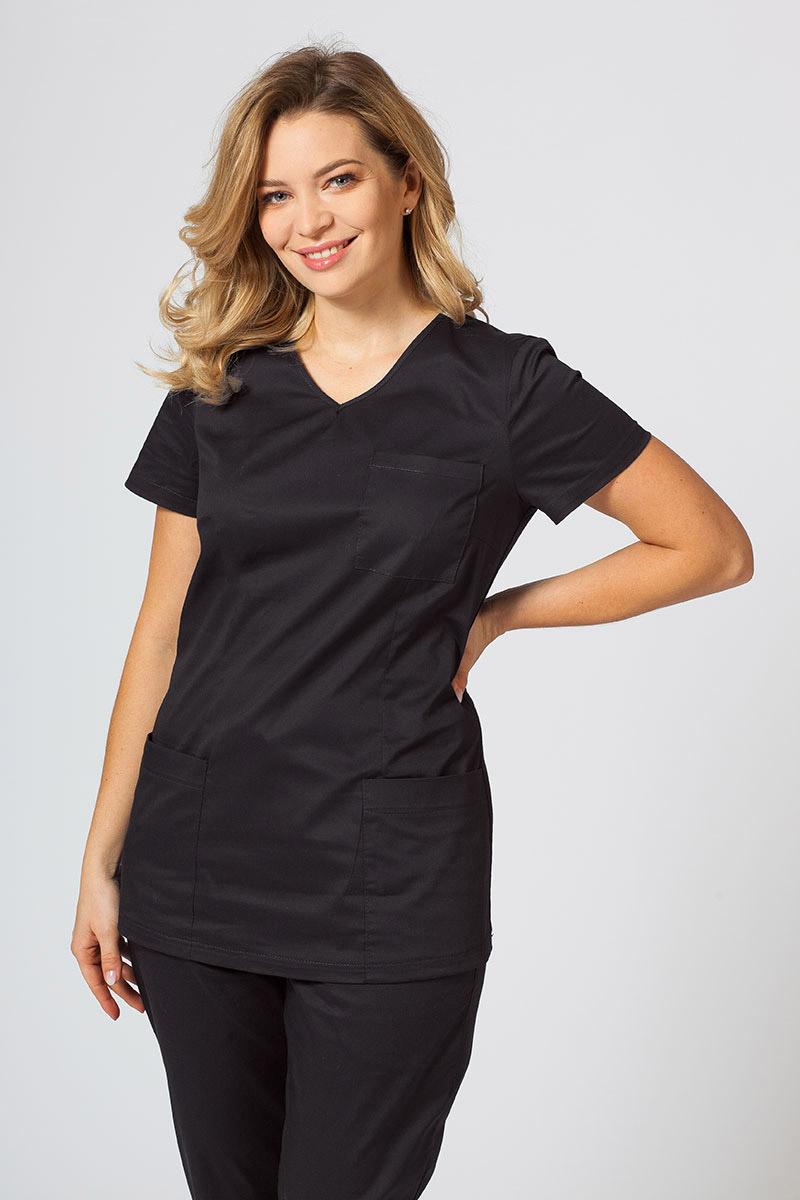 Bluza medyczna damska Sunrise Uniforms Fit (elastic) czarna