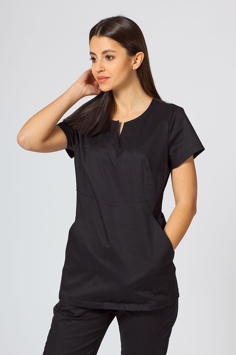 Bluza medyczna damska Sunrise Uniforms Kangaroo (elastic) czarna