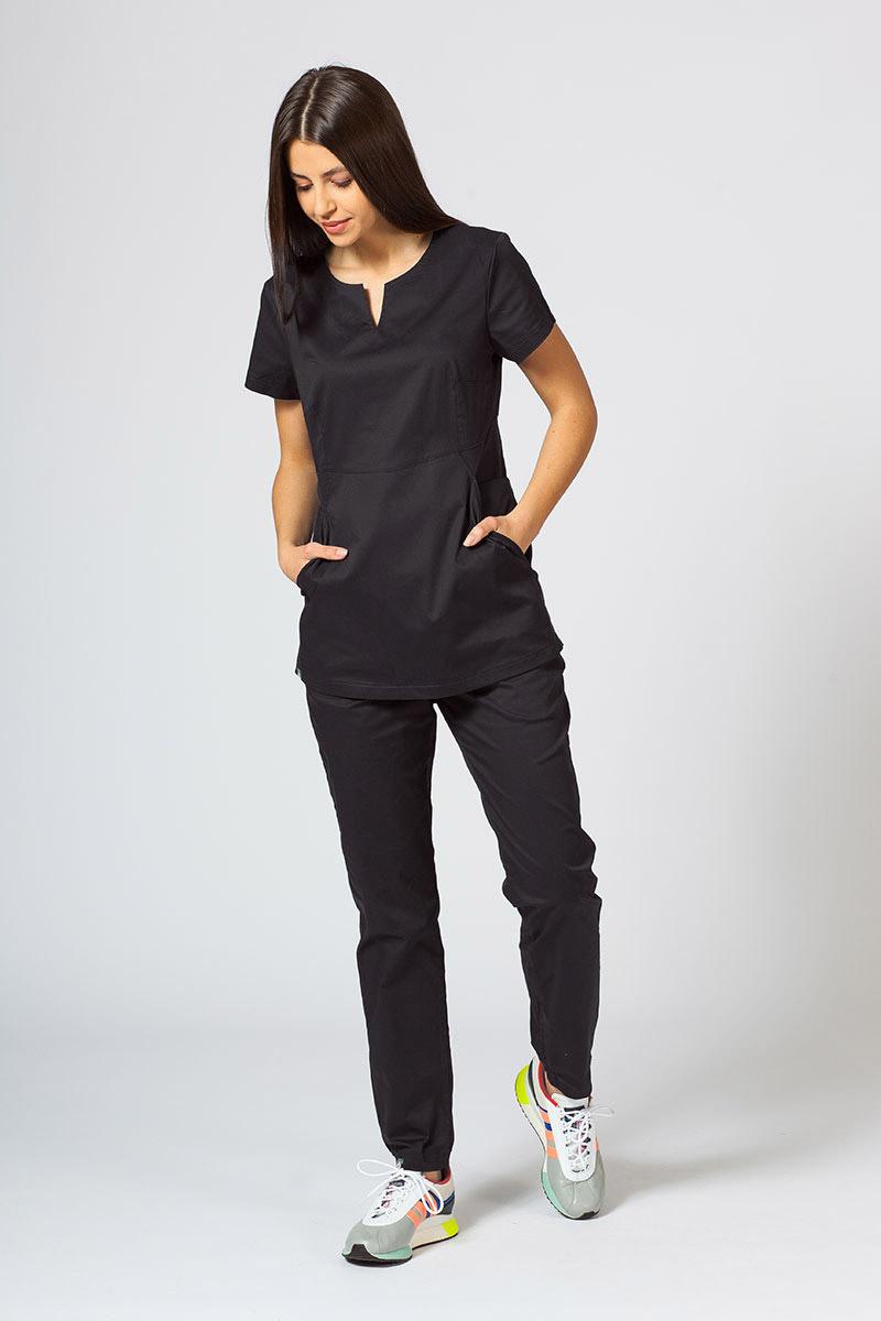Komplet medyczny Sunrise Uniforms Active czarny (z bluzą Kangaroo - elastic)