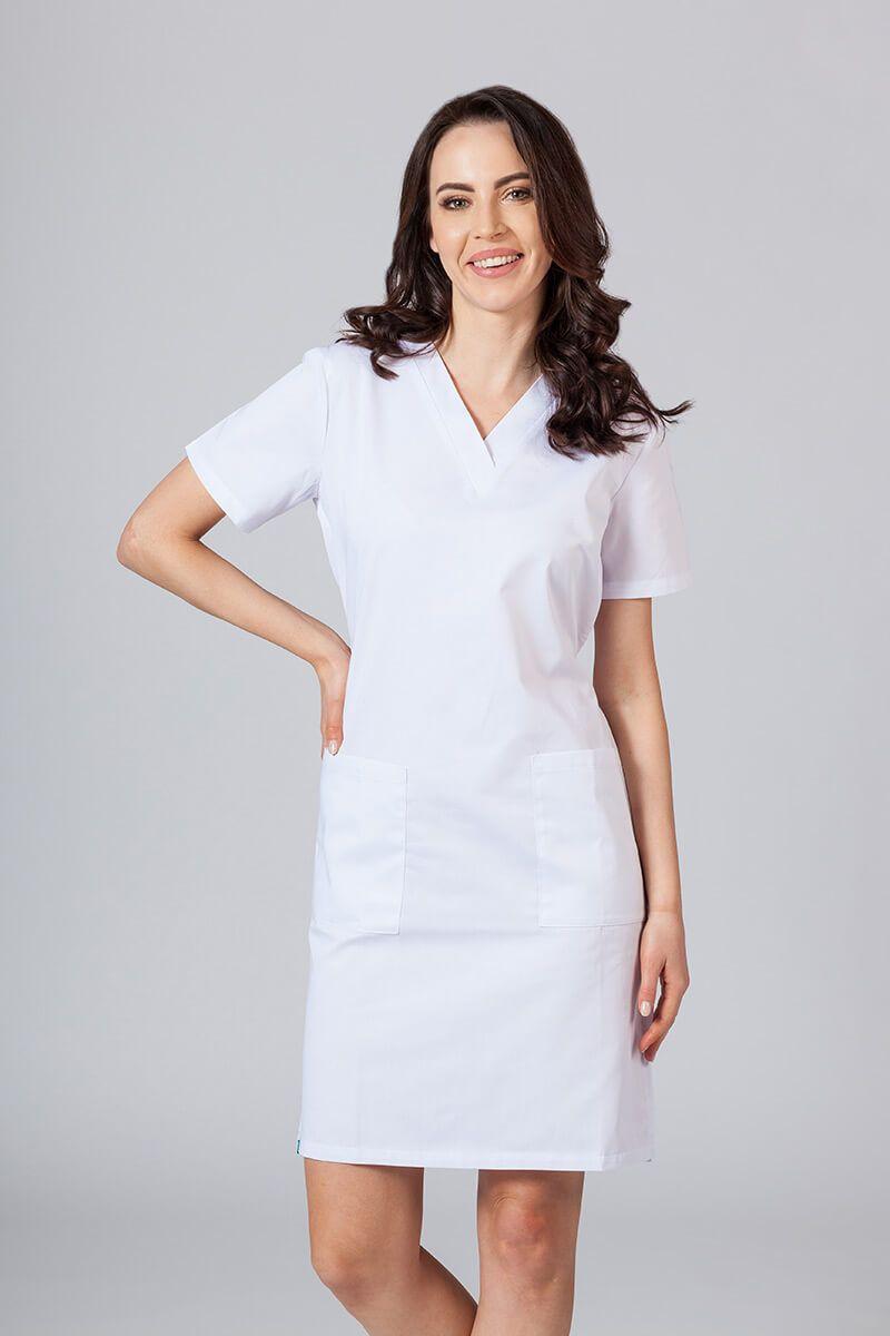 Sukienka medyczna damska prosta Sunrise Uniforms biała