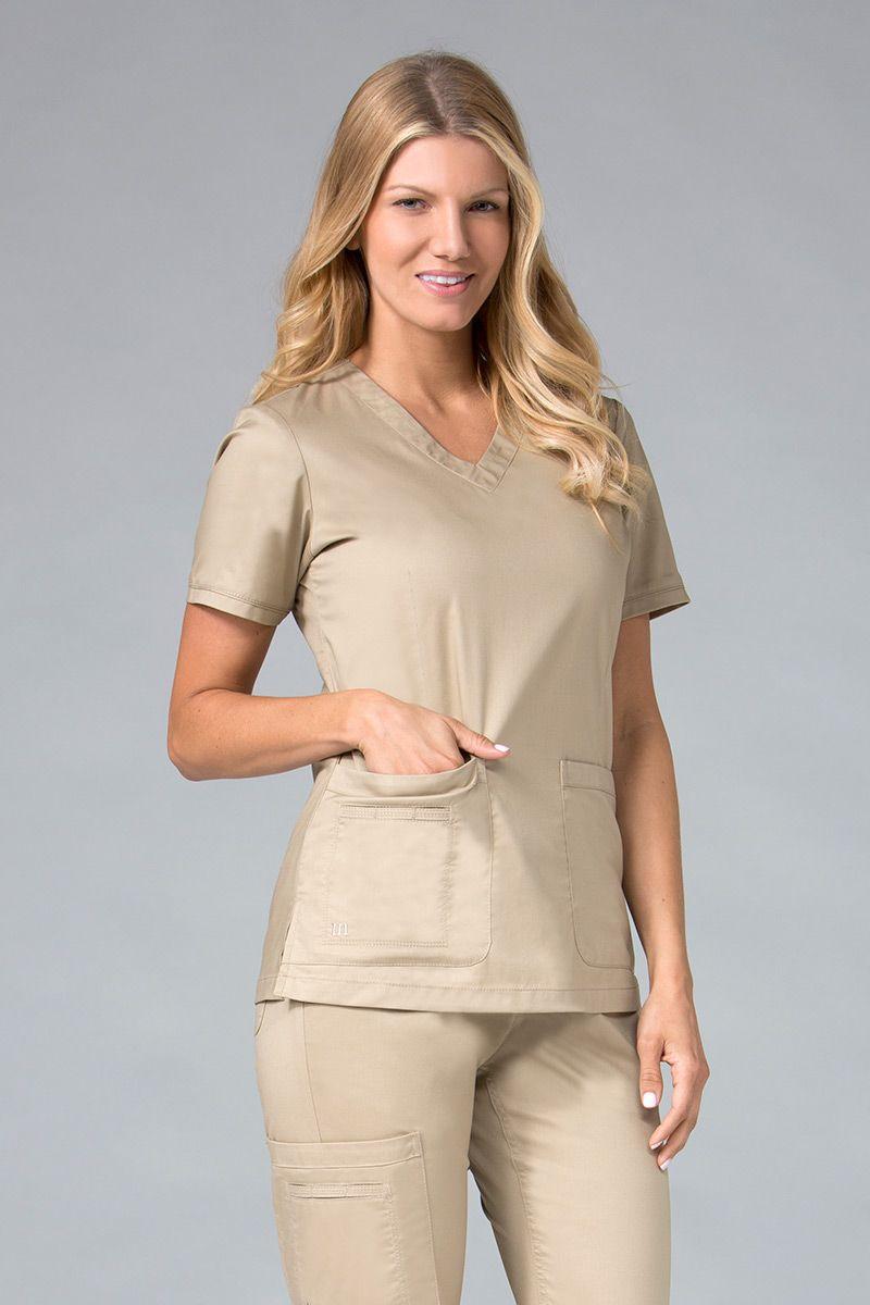 Bluza damska Maevn Blossom (elastic) beżowa