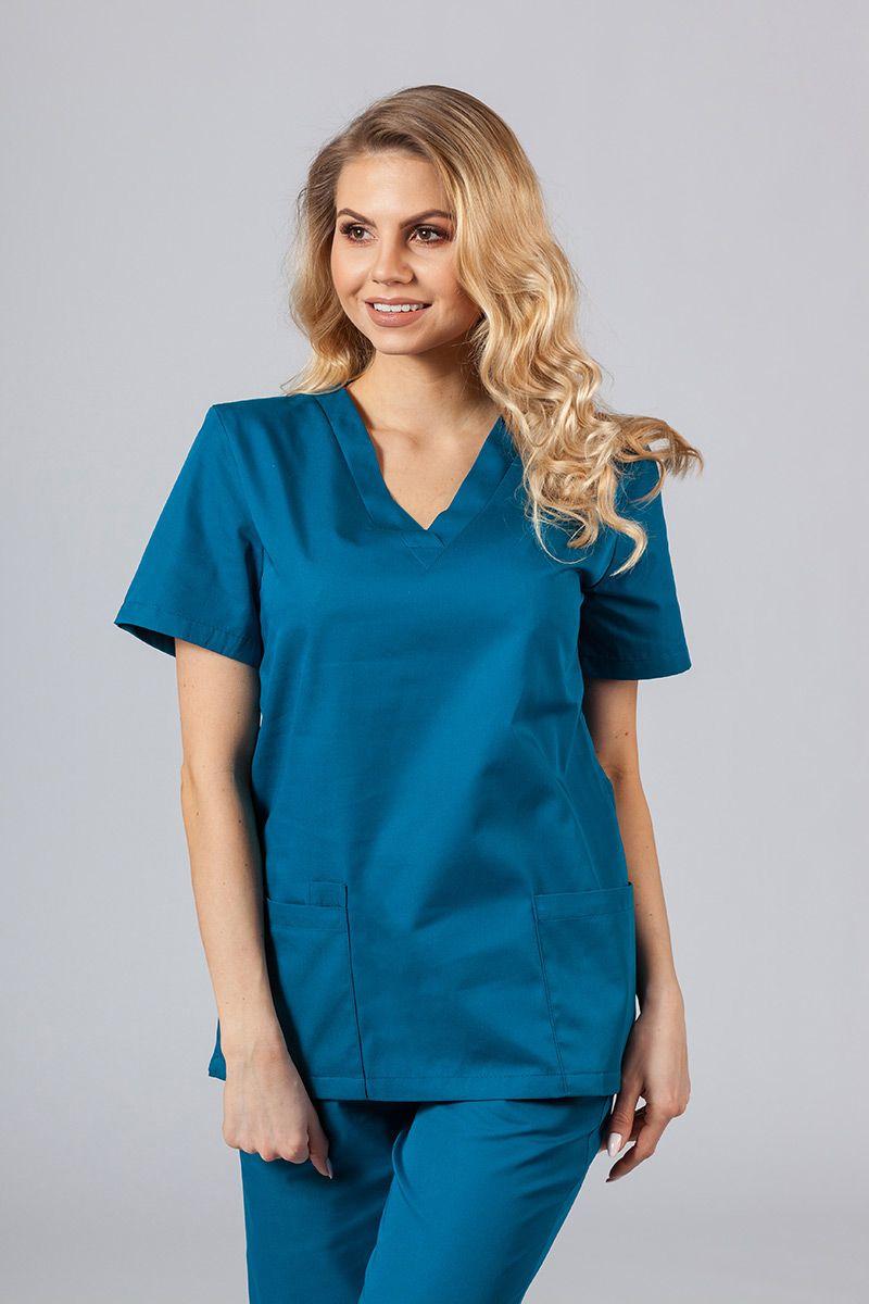 Bluza medyczna damska Sunrise Uniforms karaibski błękit taliowana
