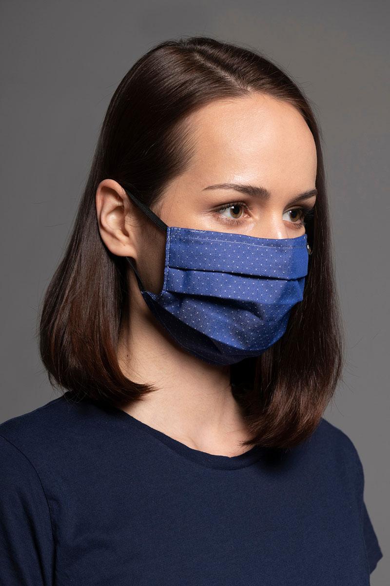 Maska ochronna Classic, 2-warstwowa z kieszonką na filtr (100% bawełna), unisex, granatowa + wzór