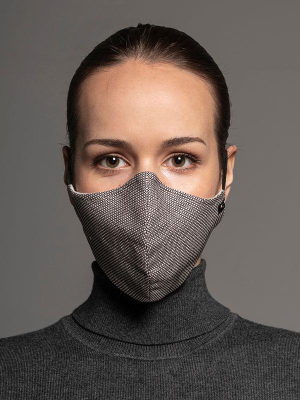 Maska ochronna Heritage, 2-warstwowa (70% bawełna, 28% len, 2% elastan) z bambusowym wnętrzem, unisex, brązowo-beżowa