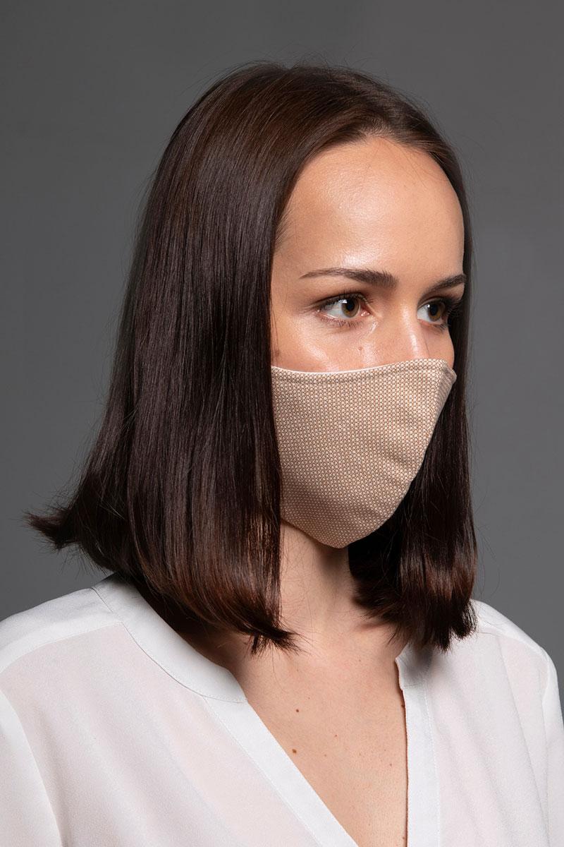 Maska ochronna Heritage, 2-warstwowa (70% bawełna, 28% len, 2% elastan) z bambusowym wnętrzem, unisex, beżowa