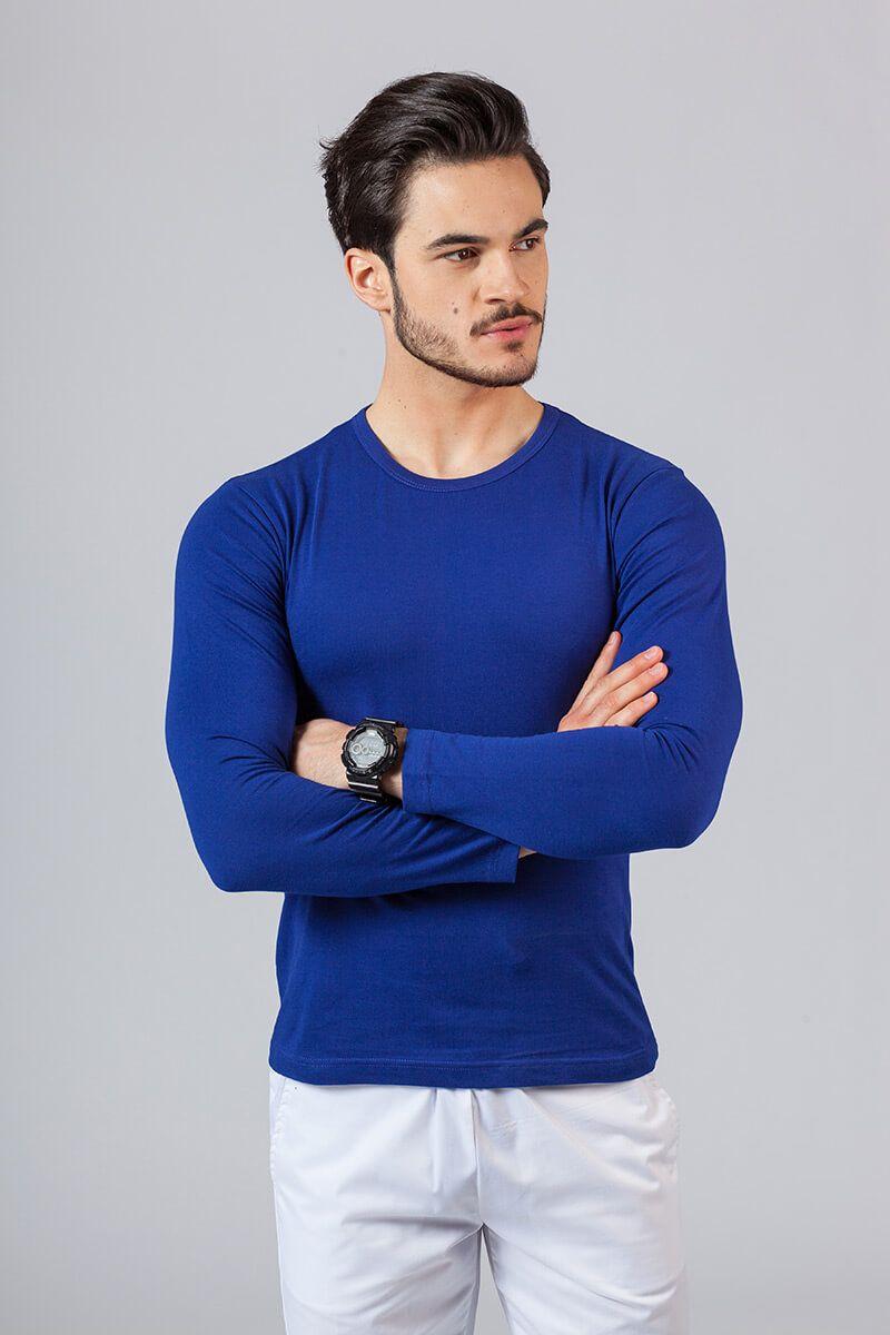 Koszulka męska z długim rękawem chabrowa