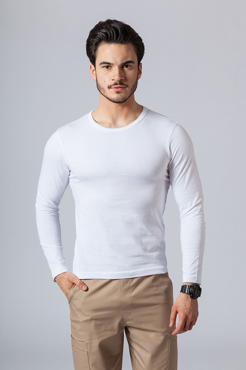 Koszulka męska z długim rękawem biała
