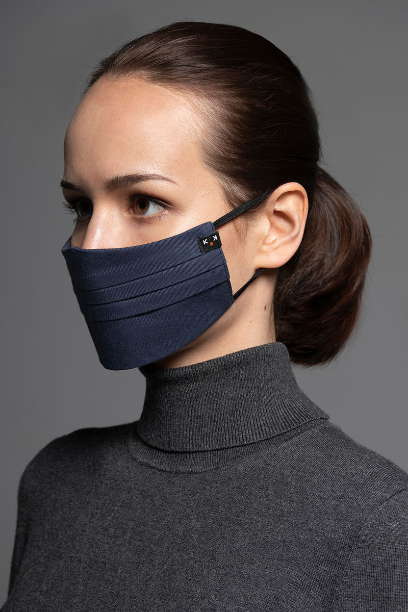 Maska ochronna Canvas, 2-warstwowa (100% bawełna), unisex, granatowa