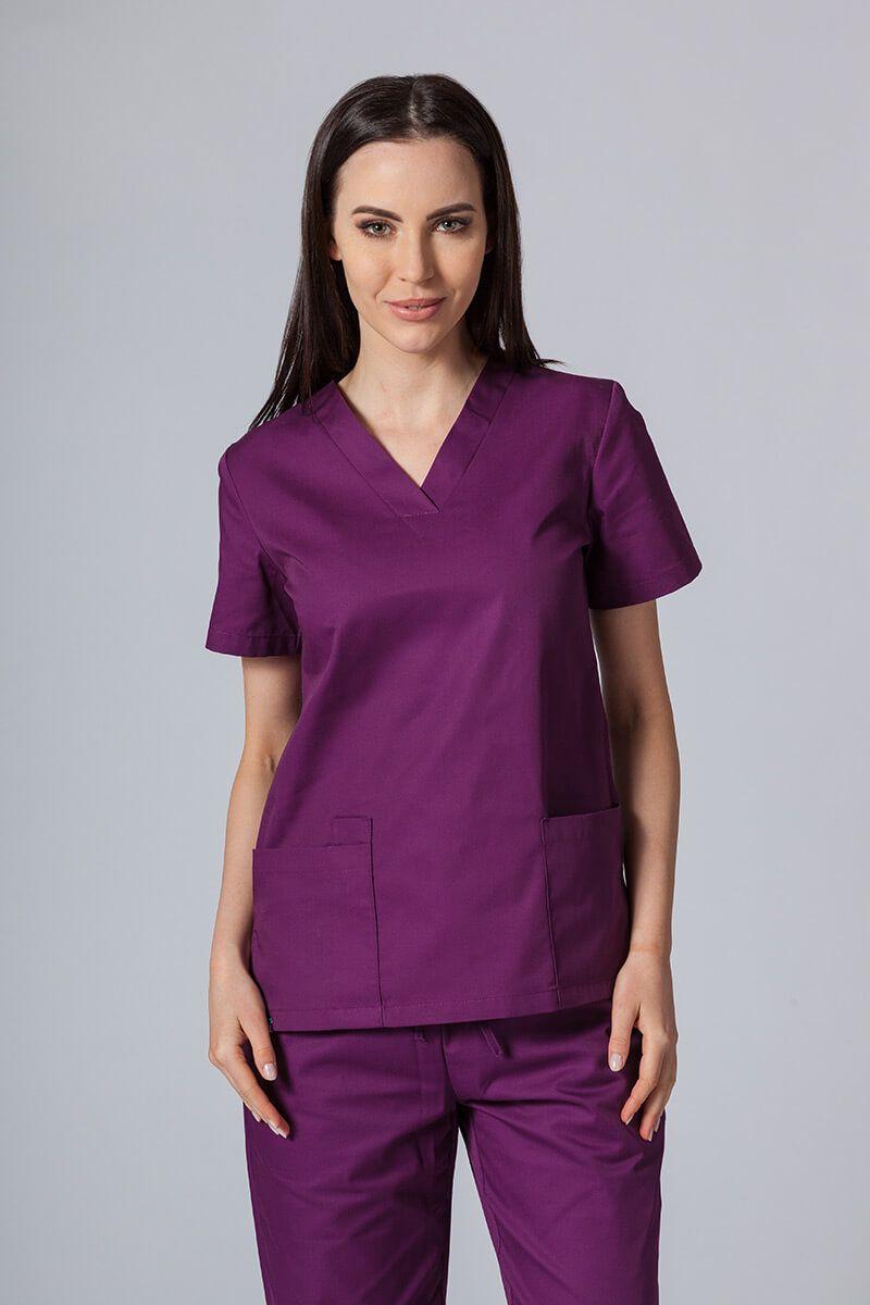 Bluza medyczna damska Sunrise Uniforms ciemna oberżyna taliowana