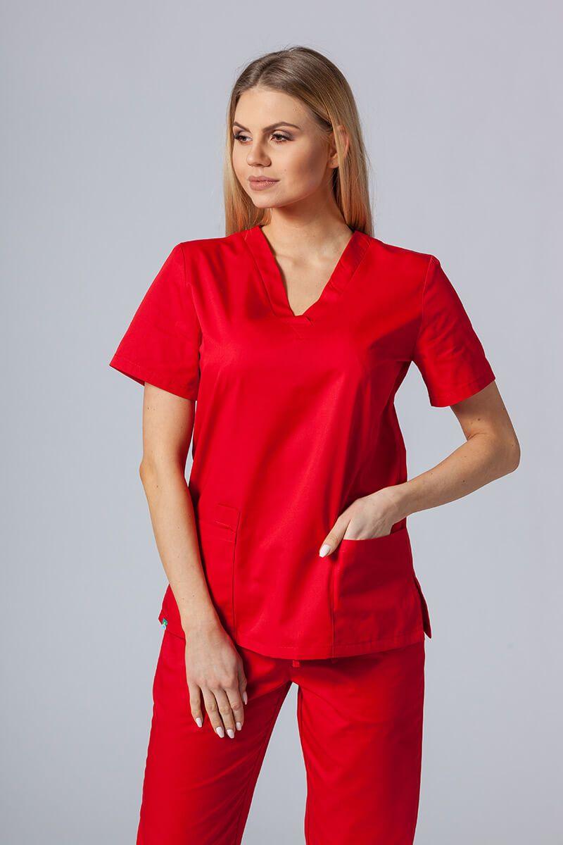 Bluza medyczna damska Sunrise Uniforms czerwona taliowana