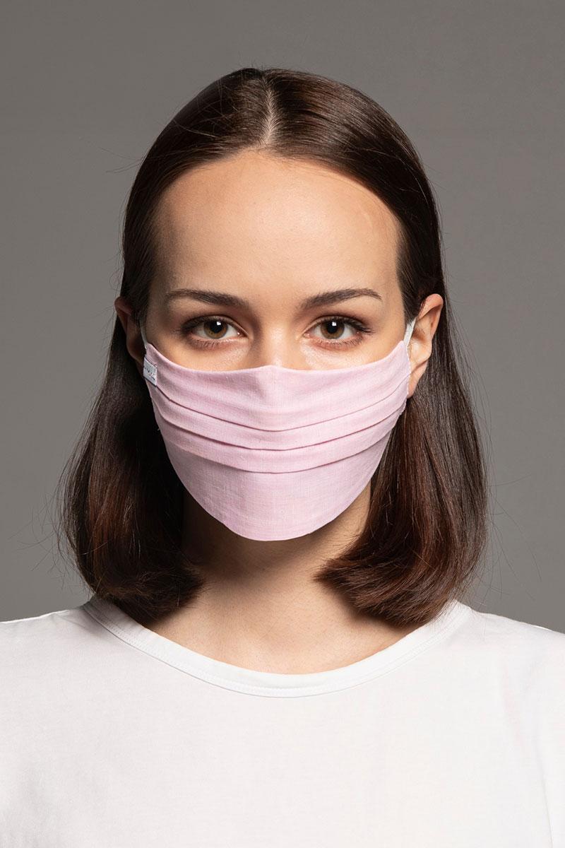 Maska ochronna Canvas, 2-warstwowa (70% bawełna, 30% len), unisex, jasnoróżowa
