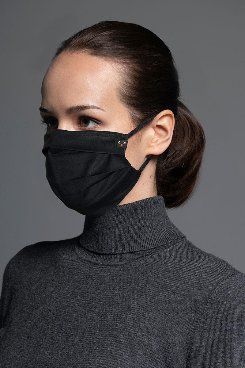 Maska ochronna Classic, 2-warstwowa z kieszonką na filtr (96% bawełna, 4% elastan), unisex, czarna