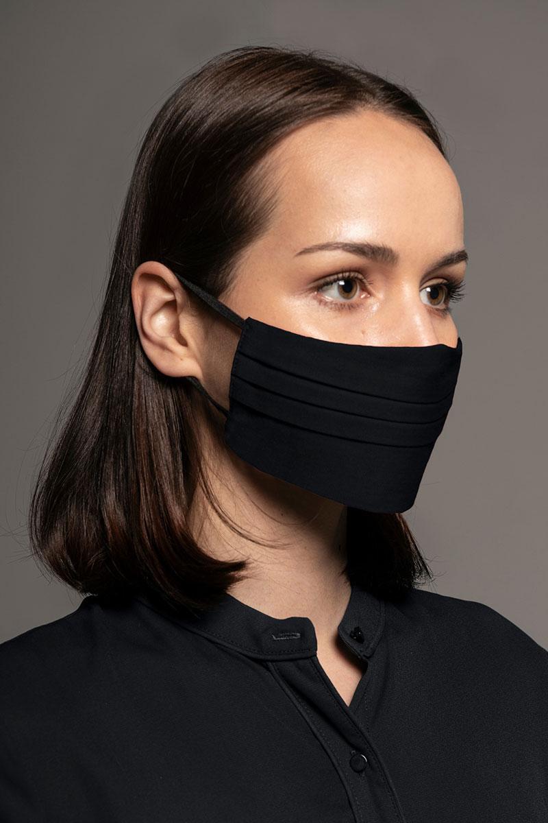 Maska ochronna Canvas, 2-warstwowa (96% bawełna, 4% elastan), unisex, czarna