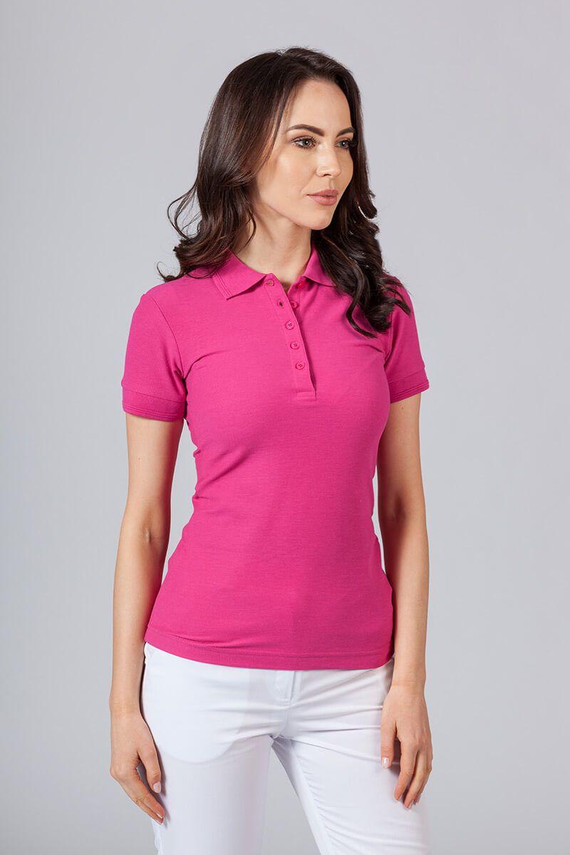 Koszulka damska Polo malinowa