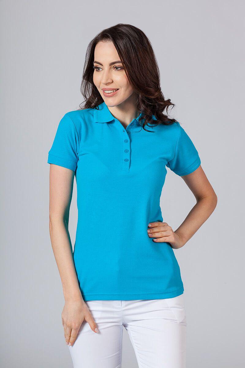 Koszulka damska Polo turkusowa
