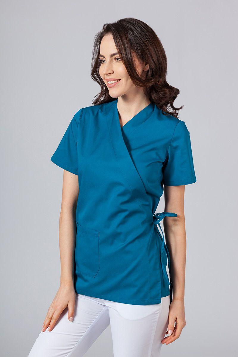 Fartuszek/bluza damska wiązana Sunrise Uniforms karaibski błękit