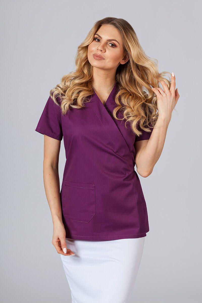 Fartuszek/bluza damska wiązana Sunrise Uniforms oberżyna