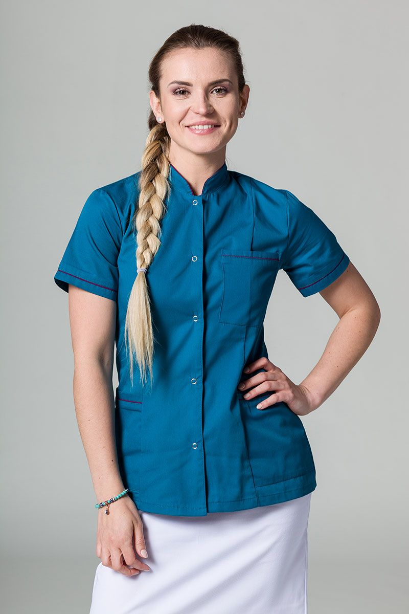 Żakiet ze stójką Sunrise Uniforms karaibski błękit z oberżynową lamówką