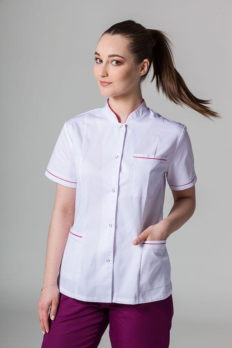 Żakiet ze stójką Sunrise Uniforms biały z malinową lamówką