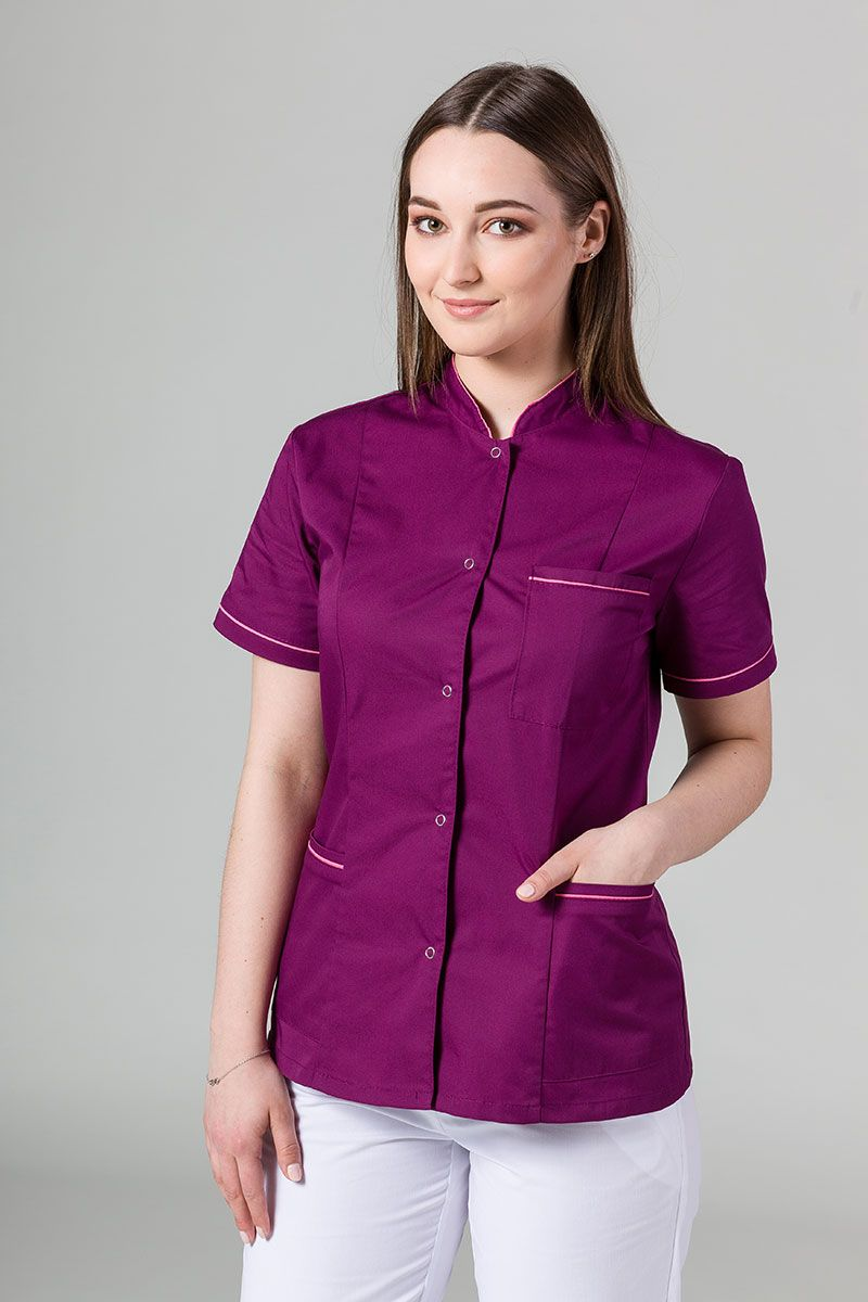 Żakiet ze stójką Sunrise Uniforms oberżyna z różową lamówką