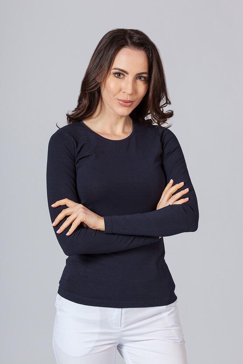 Koszulka damska z długim rękawem granatowa