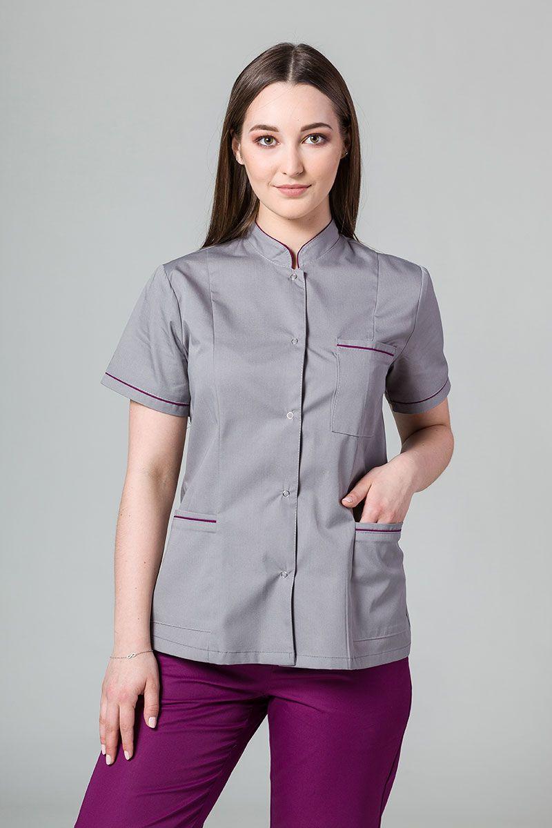 Żakiet ze stójką Sunrise Uniforms szary z oberżynową lamówką