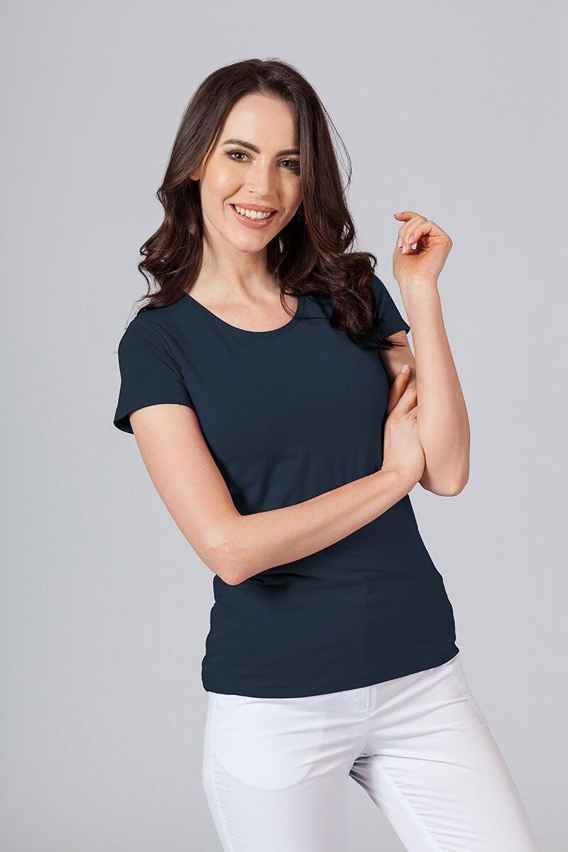 Koszulka damska z krótkim rękawem granatowa