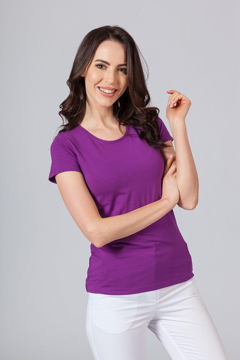 Koszulka damska z krótkim rękawem fioletowa