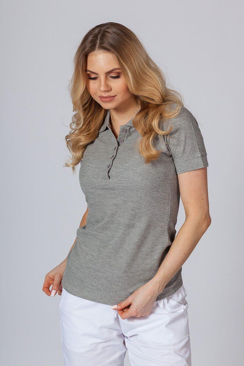 Koszulka damska Polo ciemnoszary melanż