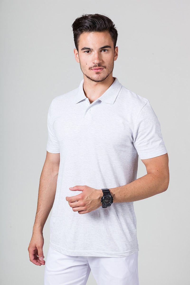 Koszulka męska Polo jasnoszary melanż